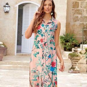 Soft Surroundings Peach Floral Maxi Dress